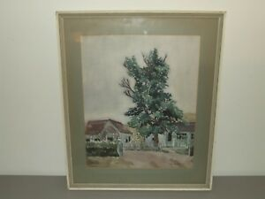 Vintage 1951 Framed Original Watercolor Painting by Listed Artist Ellen Donahue