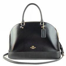 COACH Patent Crossgrain Leather Sierra Satchel Crossbody Bag Purse BLACK F31352