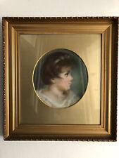 More details for gilt framed pastel portrait of a girl in a circular mount