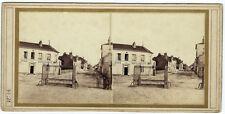 Photo stéréo vers 1870 ville à identifier restaurant Leclerc commerce