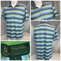 Brooks Brothers St. Andrews Links Polo Golf Shirt M Blue Green Stripe L9-752