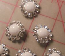 3 Chalk White Glass And Rhinestone Shank Buttons Silver Setting Bridal 1""