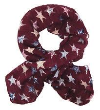 Pañuelo Mujer Rojo Estrellas Estrella Ella Jonte Plisado Bufanda Viscosa Nuevo