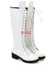 New Womens Lace Up Punk Knee High Motorcycle Biker Boots Flats Riding Shoes SIZE