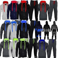 Mens Contrast Jogging Full Tracksuit Fleece Hoodie Top Bottoms Joggers Gym