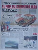 L'AUTO JOURNAL 1960 238 PEUGEOT 403 DIESEL CITROEN 2CV DE PONTAC RUDOLF DIESEL