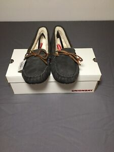 Brand New W/ Tags & Box UNIONBAY Women's Yum Pewter Moccasin Slippers Size 6.5M!