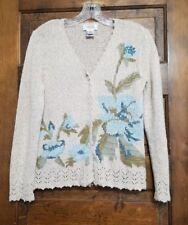 Talbots Tan Blue Floral Cardigan Sweater Embellished Ladies Sz P (Small)