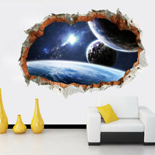 3D View Space Solar Planets Wall Art Sticker Boys Room Decals Mural Removable