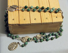 Rosary of the Seven Sorrows, African Jade and Sorrow Medals, Handmade Catholic