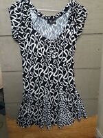 Womens Bali Black and White Capped Sleeve Skirted Blouse