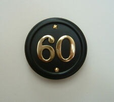 Black sign brass numbers - house number signs / plaques - 5 shapes nos 1 to 999