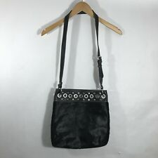 aqua madonna handbag Crossbody Bag Purse Black Leather Calf Hair Studded Silver