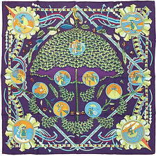 "NEW Hermes Paris Silk Scarf  ""L'Ombrelle Magique"" in purple multicolour"