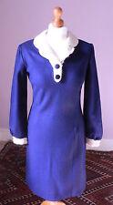 True Vintage 1960s Blue Wool Mod Dress Unworn Old Shop Stock Mad Men Style 10-12