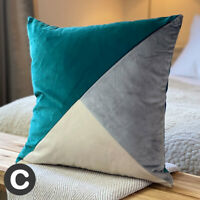 Pair of Luxury Abstract Smooth Velvet Soft Teal Green Blue / Grey Cushion Covers