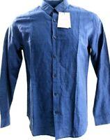 Mens $195 THEORY Blue Zack PS Rotuma Long Sleeve Button Front Shirt Linen Cotton