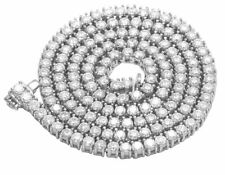 """14K White Gold Over 1 Row 4 Prong Tennis Choker Round Diamond Chain Necklace 30"""""""