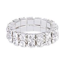 Elastic Silver Tone 2 Row Rhinestone Toe Ring Bridal Jewelry AD
