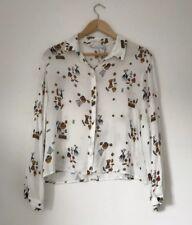 Zara Women Blouse Medium White Crop 3/4 Sleeve Boxy Tribal African Print