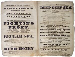 Original 1834 playbill for Royal Olympic Theatre under manager Madame Vestris