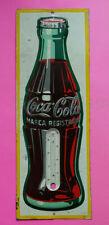 Mexican Mexico Vintage Tin Sign Coca Cola Soda Bottle Thermometer C. 1950s RARE