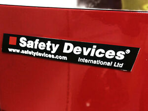 Safety Devices Small Sticker x 2 (100 x 15mm) - Genuine Article