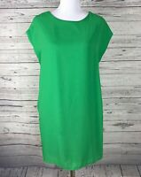 OVI Women's Green Short Sleeve Lined Shift Dress Size Small