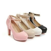 Women's Casual Ankle Strap High Heel Block Heel Round Toe Pumps Shoes 41 42 43 D