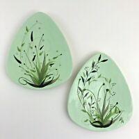 Vintage Plates Mid Century Modern MCM GreenTriangle Hand Painted Signed Ceramic