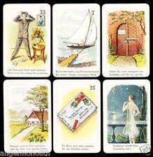 Antik Rarität 36 Art déco Lenormand Spear Wahrsagekarten mit Versen Tarot c.1920