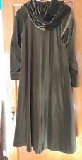 long green loden velvet hooded coat cape like romantic velveteen