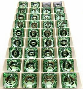 Chrysolite MF 14mm Swarovski Square Buttons (6 Pieces) #3017