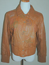 WOMENS ROCAWEAR MED. BROWN 6 SNAP W/GOLD & COLORED STITCHING LEATHER JACKET LGE