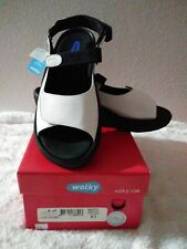 Wolky Jewel Sport Adjustable Black and White Sandal Smooth Leather Sz 43 US 12