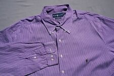 Ralph Lauren Classic Fit Button Front Dress Shirt. Purple Stripe, 18 38/39 Tall.