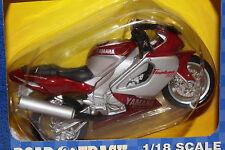 2000 MAISTO  1/18 SCALE YAMAHA THUNDER RACE 1000 MOTORCYCLE, SILVER & MAROON