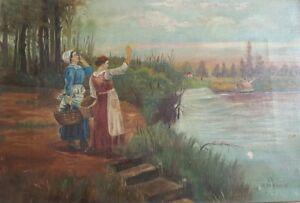 Antique 19th SIGNED Primitive Continental Farm Landscape Painting