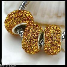 European bead 14mm CRYSTAL DARK GOLD SHAMBALLA DISCOCharm Bead AUS Seller