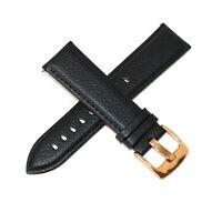"Kenneth Jay Lane 22MM Genuine Leather Watch Strap 8"" BLACK w/ Rose Gold Buckle"