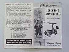 Vintage Shakespear Open Face Spinning Reel Instruction Folder Fishing Tackle