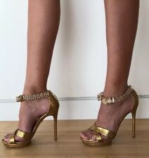 Roberto Cavalli Golden Panther Leather Heels, Shoes 36 Original Retail $2,145