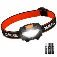 OMERIL LED Head Torch, Lightweight COB Headlamp with 3 Modes, IPX4 Waterproof,