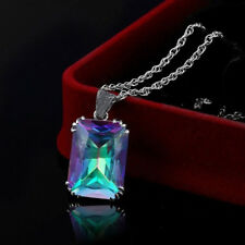 925 Sterling Silver Filled Women Gemstone Healing Pendant Jewelry Bridal Gift