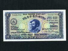 Ethiopia:P-6,2 Thalers,1933 * Haile Selassie * First Issue ! * AU-UNC *