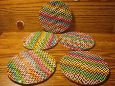 """#5 Color WAVES DUCKTAPE design & Natural Cork Drink Coasters Placemats 3.5"""" in"""
