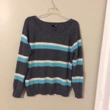 Aqua cashmere women's size M Kashmir multicolored striped longsleeve sweater