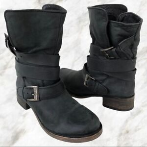 Steve Madden Womens Brewzzer Black Leather Slouch Buckle Mid Calf Boots SZ 6 NEW