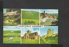 J Salmon Multi View Colour Postcard Historic Dorset-The Cerne Giant-Corfe Castle