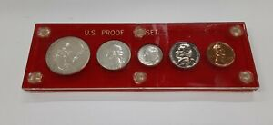 1960 United States Mint 5 Coin Proof Set w/SD Cent  Red Holder 90% Silver (A)